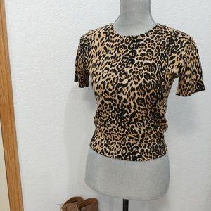Zara knit animal print crop short sleeve sweater S